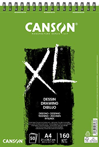 CANSON XL® Dessin Zeichenblock, DIN A4, 50 Blatt, 160 g/m²