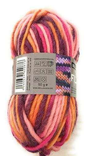 Filzwolle rosa/ornage/lila/pink meliert aus 100% Schurwolle, Lauflänge ca. 50 m