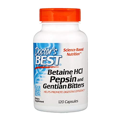 Doctors Best Betaine HCl Pepsin & Gentian Bitters - 120 caps 120 unidades 140 g