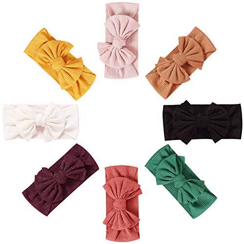 De feuilles Baby Stirnband Mädchen 8 Stücke Stirnbänder Knoten Stirnband Elastisch Schleifen Turban Haarband Knit Head Wraps