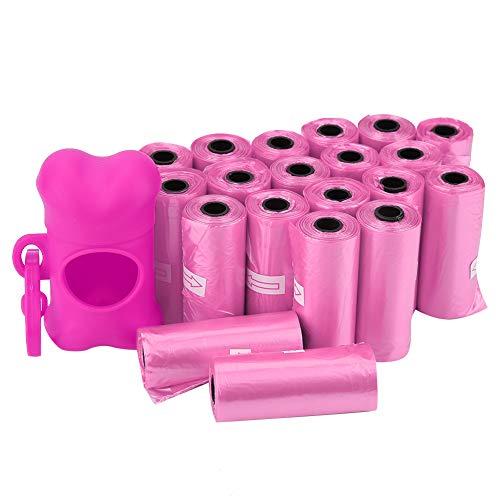 Bolsas para desechos de basura limpias de plástico para perros y mascotas con soporte para dispensador de bolsas con forma de hueso sin perfume-20 rollos convenientes para limpiar desechos(Rosa Rosa)