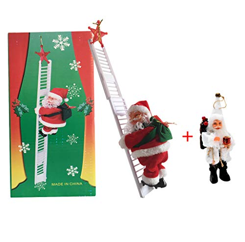 Collections Etc Singing Santa Climbing Ladder with Bag of Presents, Indoor Christmas Decoration - Sings Jingle Bells (Multicolor 1, One Size)
