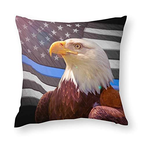Eagle Flag Line American Police - Funda de almohada decorativa, diseño de bandera de águila, suave microfibra, 45 x 45 cm