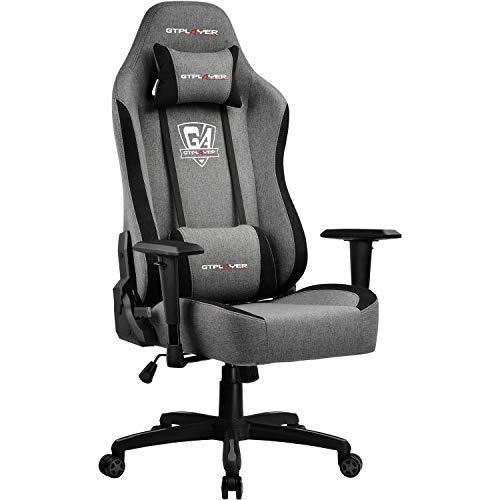 GTPLAYER Gaming Stuhl Bürostuhl Gamer Ergonomischer Stuhl Einstellbare Armlehne Einteiliger Stahlrahmen von der Leinen machartige Oberfläche Grau