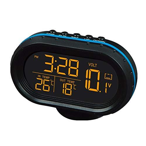 BiaBai Reloj de temperatura multifunción para coche, voltímetro, termómetro para coche, reloj electrónico, reloj de luz nocturna para coche, suministros