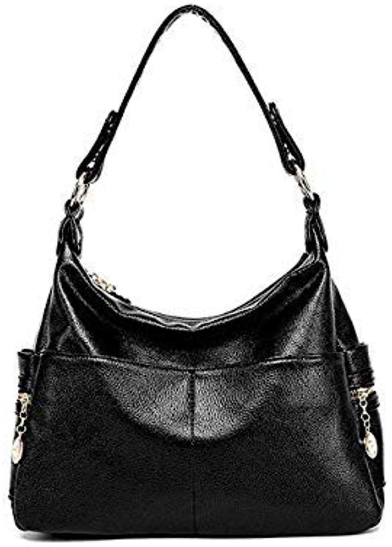 Genuine Leather Retro Women Bag Ladies Satchel Shoulder Bag Women Crossbody Messenger Bag Female Handbags Totes bolsas Feminina color Black