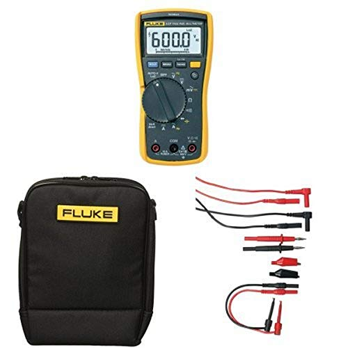 Fluke 117 Electricians True RMS Multimeter with Polyester Soft Carrying Case and Electronic Test Lead Kit