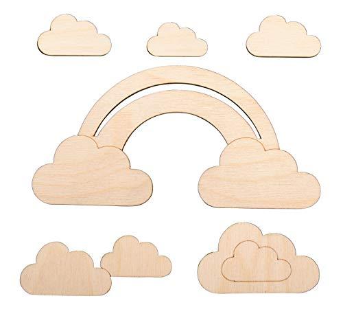 Rayher 62983505 Adornos de madera de arcoíris y nubes, 16,8x8,3 cm, 6 piezas, decoración de madera