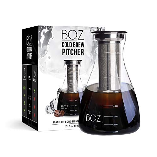 BOZ Cold Brew Iced Coffee Maker, 2 Quart Glass Pitcher | Ultra Fine Coffee Filter, Serving Carafe | 2L, 67 fl oz