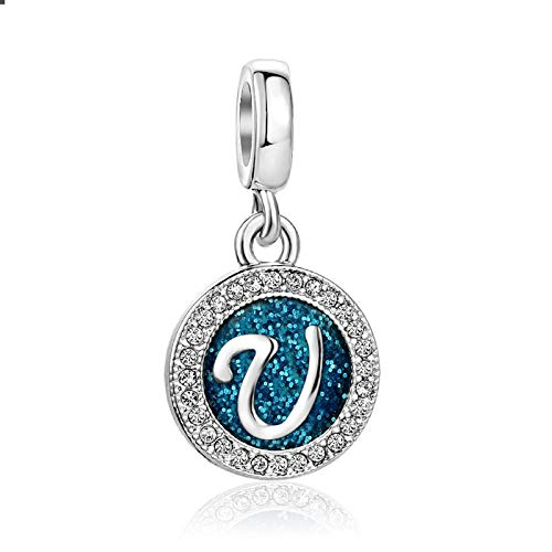 SBI Jewelry Blue Initial Letter Charm for Bracelets Silver U Charm April Birthstone Gift for Girlfriend Grandma Mother's Day