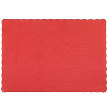 Perfectware Placemat-Red-200 Placemat with Scalloped Edges  Pack of 200  Red  Pack of 200