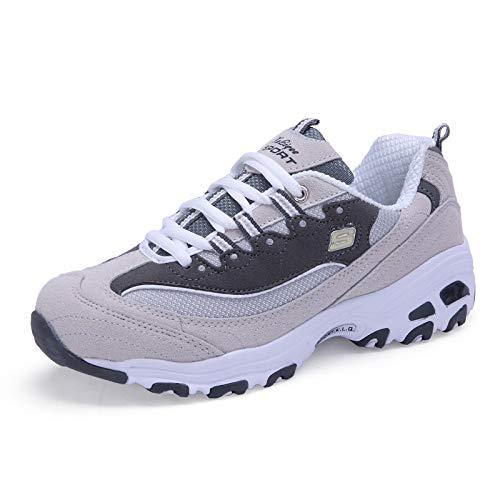 Zhongyu Damen Sneakers, Frühling-Herbst Dicke Unterseite, High-Top, Low-Top Schnürschuhe aus Wildleder, modische Gezeitenschuhe, Laufschuhe Dunkelgrau hellgrau 37EU