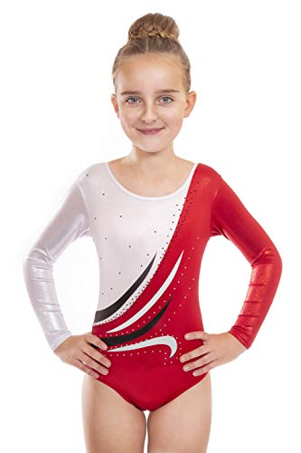 Vincenza Dancewear Eve Girls Long Sleeved Leotard for Gymnastics (Red, 5-6 Years, 26