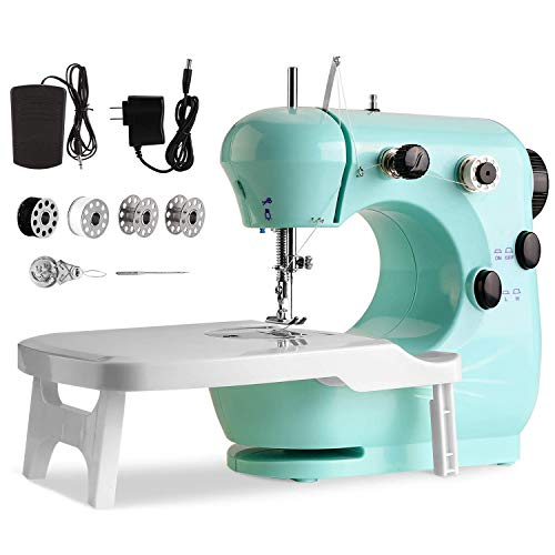 Máquina de Coser De Doble Velocidad, Con luz nocturna y mesa extensible, Con luz nocturna, Portátil y práctica, Apta tanto para principiantes como para amantes de la costura