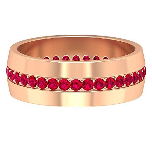 Anillo redondo de rubí creado en laboratorio de 1,7 mm, anillo de banda ancha, unisex, oro, alianza de boda (calidad AAAA), 14K Oro blanco, Size:EU 67