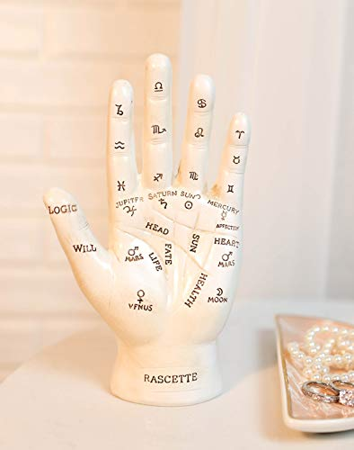 Ebros Gift Ancient Mystical Psychic Fortune Teller Chirology Palmistry Hand Palm with Lines and Symbols Figurine Decor Witchcraft Spiritual Divinity Statue for Palmists Readers (White)