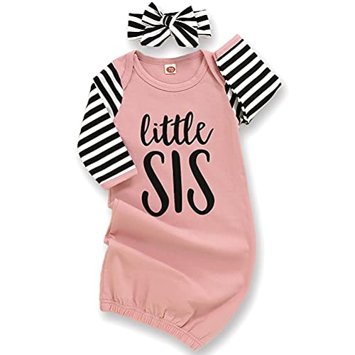 Newborn Baby Girl Little Sister Sleeper Gown Stripe Long Sleeve Nightgown Outfit (Pink, 0-6 Months)