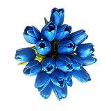20 Heads Deep Blue PU Artificial Tulip Flower Bouquet Real Touch Flowers Fake Tulips Wedding Flowers Arrangement Home Room Wedding Party Decor