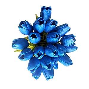 Silk Flower Arrangements 20 Heads Deep Blue PU Artificial Tulip Flower Bouquet Real Touch Flowers Fake Tulips Wedding Flowers Arrangement Home Room Wedding Party Decor