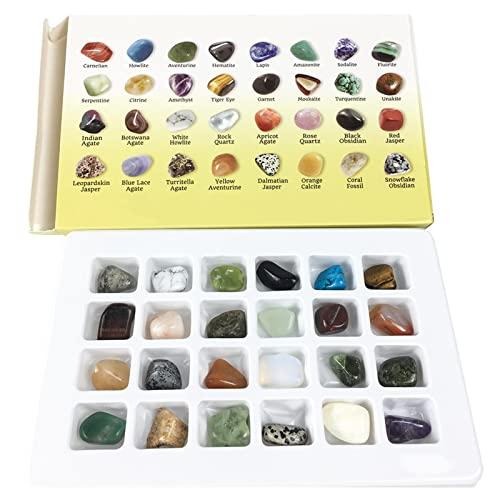A/M Calendario de adviento de Rocas y minerales, Kits de Ciencia para niños, colección de Rocas, Kit Educativo de minerales de 24 Piezas, geología para niños, colección bricolaj