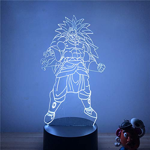 Dragon Ball Z Broly Broli Super Saiyan Ver. 3D LED-nachtlampje 7 kleuren Touch optische illusie Action Figure Lamp decoratie