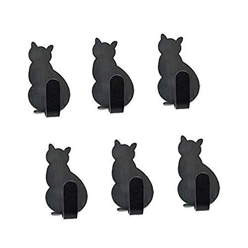 Lindo Ganchos Adhesivos, Morbuy 6 Piezas Gato Inoxidable Toallero Perchero Pared Cocina Baño 3M Autoadhesivo Perchero de Acero para Puerta Toalla Llaves Organizador (Negro)