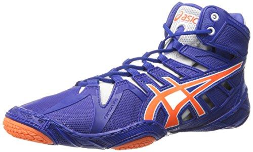 ASICS Men's Omniflex-Attack 2 Wrestling Shoe, True Blue/Shocking Orange/White, 6 M US