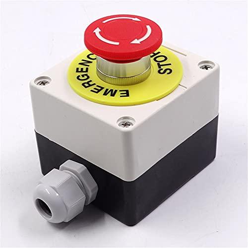 22 mm 2 NC señal roja hongo emergencia parada interruptor de presión, caja de interruptor de parada de 440V 10A abridor