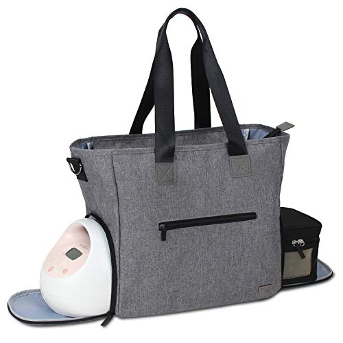 Teamoy Breast Pump Bag, Pumping Bag Tote with Pocket for Breast Pump, Cooler Bag, Laptop(Up to 14'') and More, Perfect for Working Moms, Dark Gray (Bag Only)