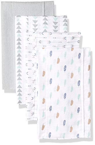 Luvable Friends Unisex Baby Cotton Flannel Burp Cloths, Boy Feathers, One Size
