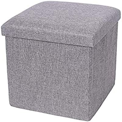 Storage Ottoman, Storage Box,Bedroom Foldable Cube Ottoman with Storage, Foot Rest, Cloth Foot Stools and Ottomans with Memory Foam and Faux Linen Seat