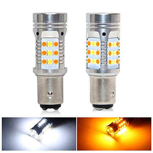 1157 Led Bulbs Error Free Canbus Built In Resistor Amber Turning Signal Light White Side Light 1157 2057 2357 7528 12V 360 Luminous 42-Led 2PC Pack Led Bulb (White Amber 1157 42-SMD)