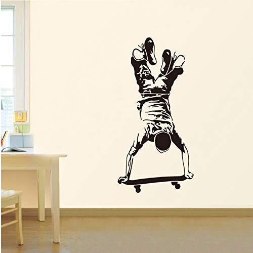 Umgekehrte Skateboard Sport Wandaufkleber für Kinder Jungen Zimmer Dekoration Wohnzimmer Wandtattoos Aufkleber Home Wallpaper