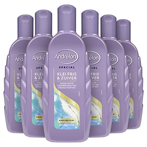 Andrélon Special Klei Fris & Zuiver Shampoo voor vette haaraanzet en droge punten - 6 x 300ML - Voordeelverpakking