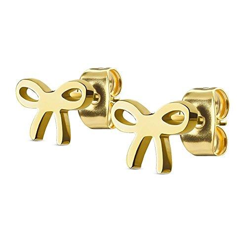 Bungsa© GOLDENE Ohrstecker SCHLEIFE - Ohrringe Set mit SCHLEIFE in GOLD - für Damen & Herren - glänzende Gold-Ohrringe zum Stecken aus EDELSTAHL - edle Damen-Ohrstecker Schleife