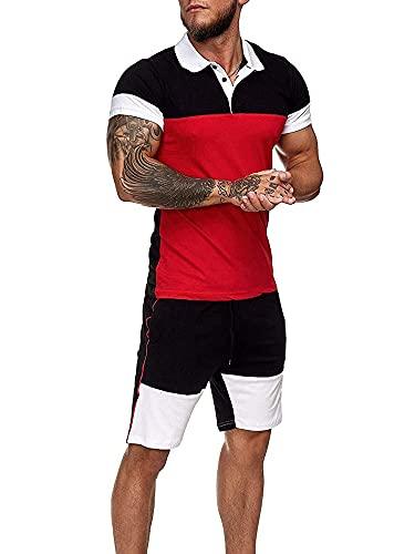 Loalirando 2 piezas Chándal hombre verano completo deportivo hombre camiseta de manga corta camiseta polo + pantalones cortos deportivos hombre rojo XL