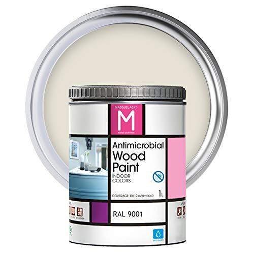 Pintura para Madera | 1 L | Pintura Interior RAL 9001 | Laca para Madera Antimicrobios | Protege y Embellece la Madera de los Muebles | Aspecto Cálido y Satinado | Color Blancocrema