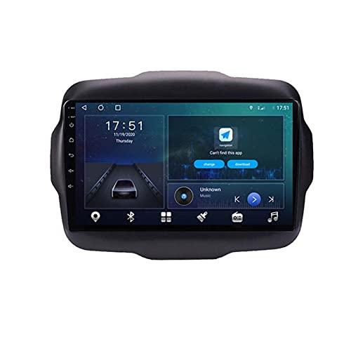 GOHHK 9 Pulgadas 4G + 64G Android 10.0 Multimedia GPS Radio De Automóvil Estéreo para Jeep Renegade 2016 2016 2017 Wireless Carplay Auto Video Player(Size:Cuatro nucleos,Color:WiFi:1GB+16GB)
