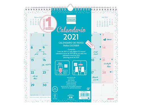 Finocam - Calendario de pared 2021 Escribir Chic Azul turquesa Español