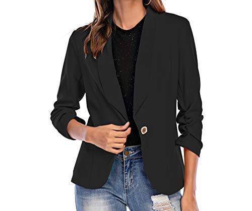 Pinspark Womens Casual Work Office Blazer 3/4 Sleeve Blazer Open Front Cardigan Jacket Gray