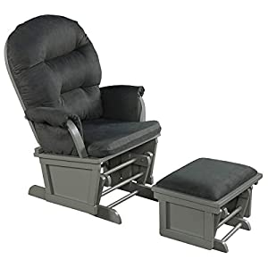 Costzon Baby Glider and Ottoman Cushion Set, Wood Baby Rocker Nursery Furniture for Napping, Nursing, Reading, Upholstered Comfort Nursery Chair w/Padded Armrests & Detachable Cushion (Dark Grey)