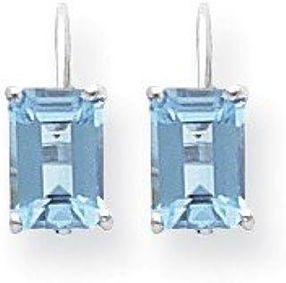 14ct White Gold Polished Leverback 7x5mm Emerald-Cut Blue Topaz Earrings