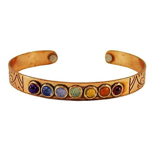Copper 7 Chakra Crystal Bracelet Adjustable Magnetic Cuff Reiki Healing Gemstone