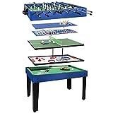 ColorBaby - Mesa multijuegos, Futbolín de madera, Mesa billar convertible, 12 juegos, Juguetes...