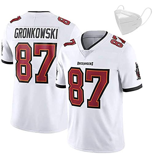 Fußball-Trikots, Gronkowski 87 Shirts, kurzärmeligen Pullover Unisex Sport-Fitness-atmungs Stickerei, Wiederverwendbare Reinigungs ist das Geschenk der Wahl White-2XL