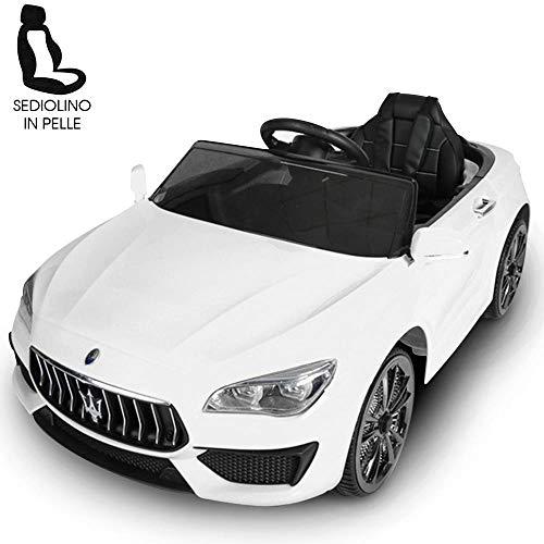 BAKAJI Auto Elettrica Bambini Macchina Maserati Ghibli 2020 Motore 12V Fari LED Funzionanti Luci Suoni Lettore MP3 AUX Telecomando Controllo a Distanza Dimensione 108 x 56 x 44 cm (Bianco)