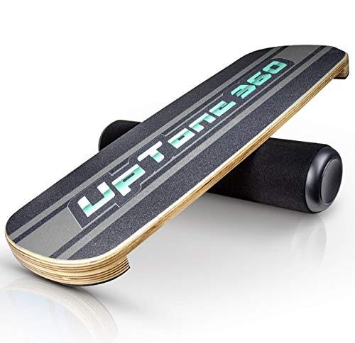 UpTone360 Balance Board - aus Birkenholz - besonders rutschfest & stabil - der ideale Gleichgewichtstrainer für Zuhause - perfekt für Snowboard, Skateboard & Surfboard Sportler (grau)