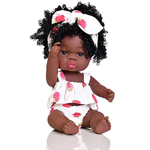 YEEZWOOD African American Baby Doll, Black Doll, 14-inch Realistic Soft Silicone Doll, Suitable for Children Over 3 Years Old Birthday Fashion Rebirth Doll