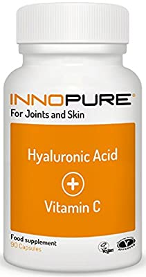 Vitamin C Tablets High Strength with Hyaluronic Acid, 90 Capsules - Vegan and Vegetarian Society Approved - Made in the UK by Innopure