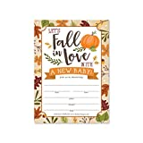 25 Fall Baby Shower Invitations, Sprinkle Invite For Boy or Girl, Coed Rustic Gender Reveal Neutral Theme, Cute Pumpkin Printed Fill or Write In Blank Printable Card, Autumn Party DIY Paper Supplies